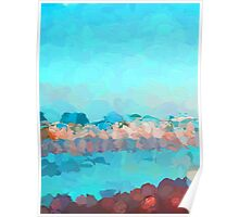 Turquoise Waves Rolling In Poster