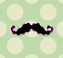 Moustache, Polka Dots, Stripes - Black Green Pink by sitnica
