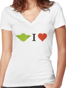 Yoda I Love Women's Fitted V-Neck T-Shirt