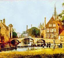 A digital painting of Convent Bridge and spire of Notre-Dame, Bruges, Belgium 19th century by Dennis Melling