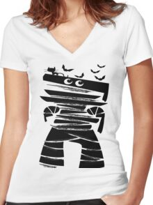 Little Halloween mummy Women's Fitted V-Neck T-Shirt