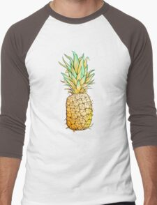 Isolated colorful image of pineapple. Men's Baseball ¾ T-Shirt