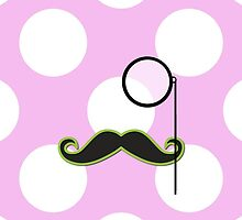 Monocle, Moustache, Polka Dots - Black Green Pink by sitnica