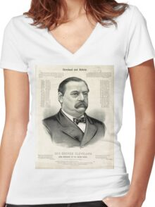Gov. Grover Cleveland, 22nd President of the United States - 1885 Women's Fitted V-Neck T-Shirt