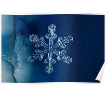Blue Ice Snowflake Poster