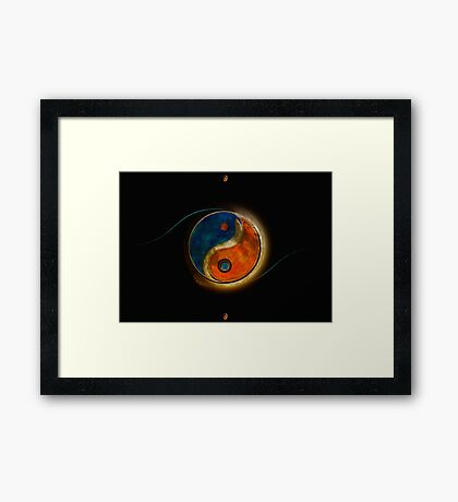 Yin-Yang Red and Blue Framed Print