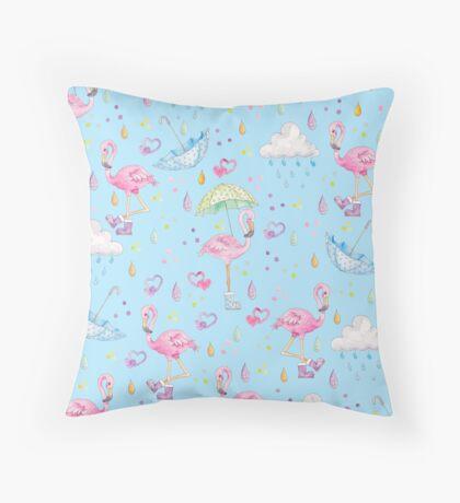 Rainy Flamingo Throw Pillow