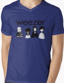 Blue Cartoon Mens V-Neck T-Shirt