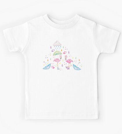 Rainy Flamingo Kids Tee