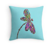 Neon Dragonfly - Turquoise Throw Pillow