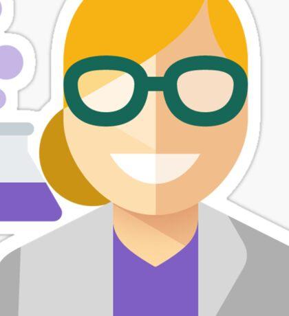 Blonde Scientist Woman Sticker