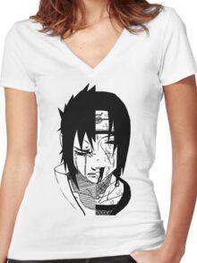 Sasuke X Itachi X Brothers Bond Women's Fitted V-Neck T-Shirt