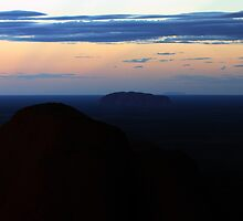 Nightfall - Kata Tjuta, Uluru, and Mt Connor by Ruth Durose