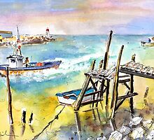 Boardwalks And Boats In Brittany by Goodaboom