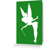 White Tinker Bell Silhouette Greeting Card