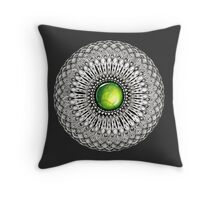 Green Gemstone Mandala on Charcoal Background Throw Pillow