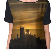 Sunset, Ely Cathedral, UK Chiffon Top