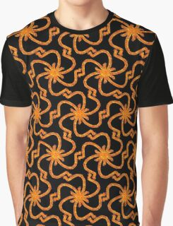 Starry Night Red Gold Art Deco Pattern Graphic T-Shirt