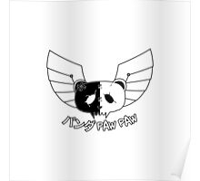 Panda Paw Paw Winged Bison Design (White) Poster