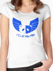 Panda Paw Paw Winged Bison Design (Blue) Women's Fitted Scoop T-Shirt