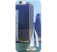 Sail Boat Sailing past the Skyscrapers iPhone Case/Skin