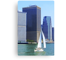 Sail Boat Sailing past the Skyscrapers Canvas Print