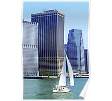 Sail Boat Sailing past the Skyscrapers Poster