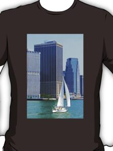 Sail Boat Sailing past the Skyscrapers T-Shirt