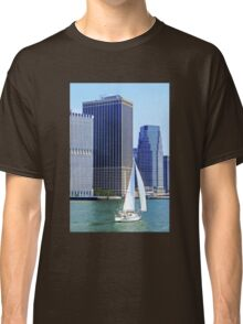 Sail Boat Sailing past the Skyscrapers Classic T-Shirt