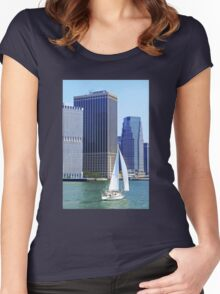Sail Boat Sailing past the Skyscrapers Women's Fitted Scoop T-Shirt