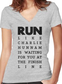 RUN -  Charlie Hunnam  Women's Fitted V-Neck T-Shirt