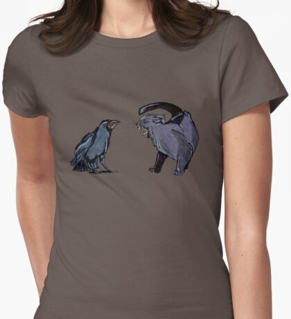 Cat Vs Crow Gothic Design Womens Fitted T-Shirt