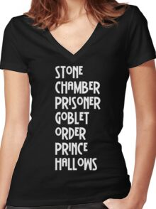 Harry Potter Titles Women's Fitted V-Neck T-Shirt