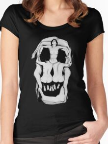 Salvador Dalí's Skulls - BLACK Women's Fitted Scoop T-Shirt