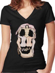 Salvador Dalí's Skulls Women's Fitted V-Neck T-Shirt