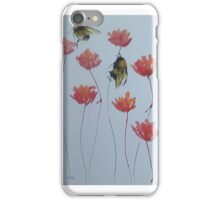 Bumble bees among red flowers iPhone Case/Skin