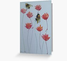 Bumble bees among red flowers Greeting Card
