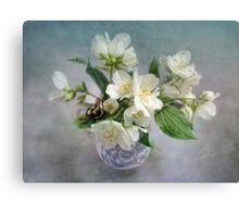 Mock Orange Blossoms Bouquet with Bumble Bee Canvas Print