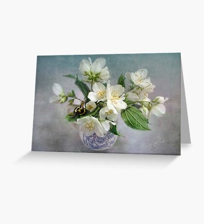 Mock Orange Blossoms Bouquet with Bumble Bee Greeting Card