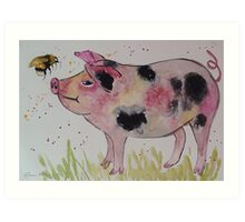 Spotty Pig and a Bumble  Art Print