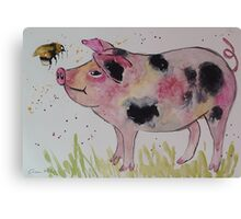 Spotty Pig and a Bumble  Canvas Print