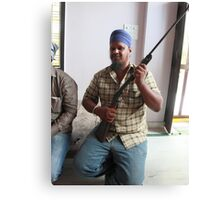 Sikh Posing with Rifle Canvas Print
