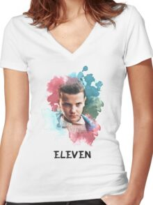 Eleven - Stranger Things - Canvas Women's Fitted V-Neck T-Shirt