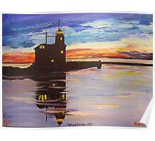 Lighthouse Sunset Poster