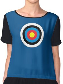 Bulls Eye, Right on Target, Roundel, Archery, on NAVY Chiffon Top