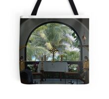 Altar amid Palms Tote Bag