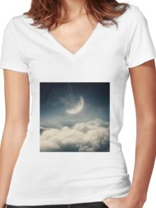 The swinging moon Women's Fitted V-Neck T-Shirt