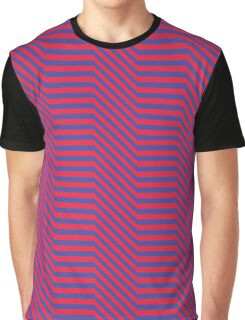 Zigged And Zagged, Red And Indigo Graphic T-Shirt