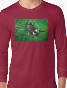 Penguin out for a swim in the green ocean Long Sleeve T-Shirt