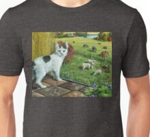Cat and the Farm, acrylic painting Unisex T-Shirt